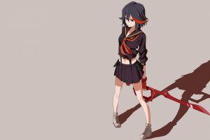 matoi ryuuko simple background anime girls anime shadow kill la kill miniskirt dark hair
