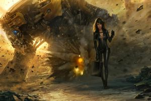 mech explosion science fiction women