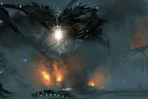 mech robot science fiction concept art artwork war destruction