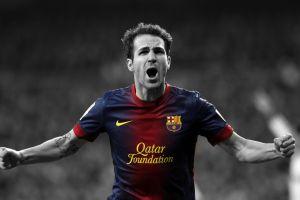 men fc barcelona cesc fabregas soccer footballers selective coloring
