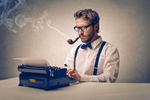 men glasses smoking writers typewriters