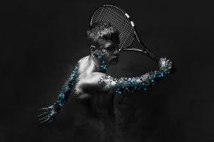 men selective coloring tennis rackets digital art tennis simple background