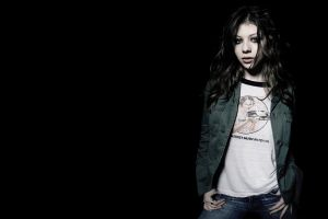 michelle trachtenberg jeans actress blue eyes brunette women curly hair black background pants jacket