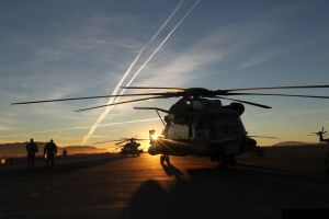 military aircraft mh-53 pave low helicopters sunset aircraft