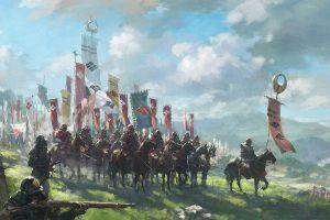 military fantasy art samurai asia army