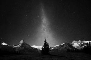 milky way space art stars galaxy nature night monochrome