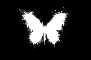 minimalism black paint splatter monochrome butterfly white black background