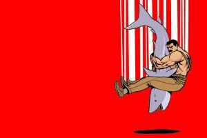 minimalism men red background artwork shark simple background cartoon