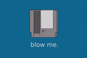 minimalism nintendo humor nintendo entertainment system cartridge video games blue background nostalgia simple