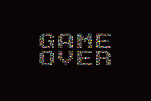 minimalism retro games black background typography simple background space invaders video games game over