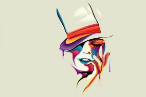 minimalism women hands closed eyes artwork colorful face