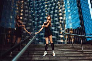 miniskirt brunette looking up women black clothing ballerina city model
