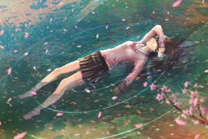 miniskirt legs school uniform cherry blossom anime girls brunette barefoot anime water floating