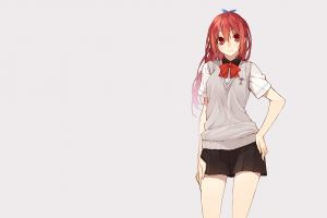 miniskirt simple background redhead anime girls free! anime