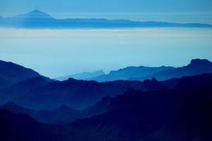 mist mountains nature blue landscape