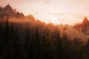 mist mountains video games the elder scrolls v: skyrim trees forest sunset