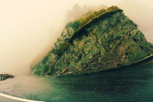 mist wet landscape rain road