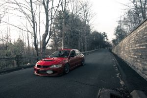 mitsubishi red cars wall car mitsubishi lancer vehicle mitsubishi lancer evo road trees