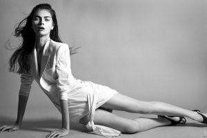 model antonina vasylchenko skinny ukrainian women monochrome brunette