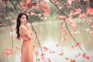 model asian leaves trees women long hair looking at viewer fall women outdoors dress