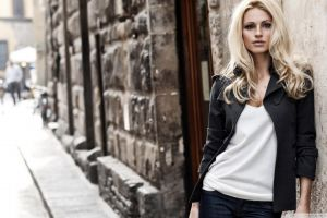 model blonde looking at viewer classy black jackets city women jacket women outdoors leaning