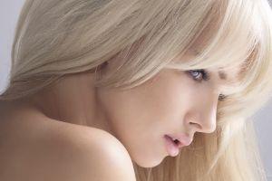 model blue eyes women blonde bare shoulders profile face