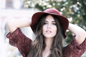 model brunette women face clara alonso women outdoors