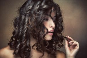 model face curly hair women portrait brunette