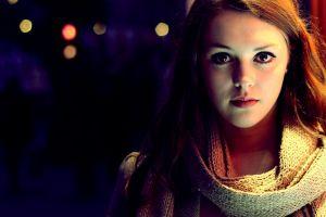 model face lights brunette women brown eyes