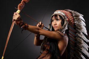 model feathers headdress arrows bow