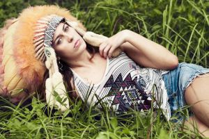 model legs brunette grass headdress women outdoors jean shorts