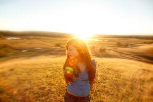model long hair field lens flare nature sunlight sun women outdoors looking away women