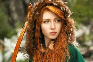 model long hair looking away women hunter freckles redhead hoods
