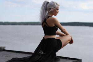 model ponytail sea miranda hedman women white hair platinum blonde dress blonde
