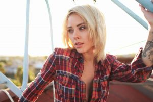 model tattoo blonde women outdoors alysha nett plaid shirt shirt women plaid