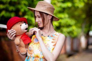 model teddy bears necklace women women outdoors bokeh floral brunette stuffed animal