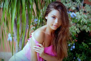 model women lily c pornstar bare shoulders raisa brunette lily c hair in face