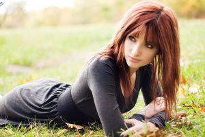 model women outdoors redhead grass long hair women susan coffey