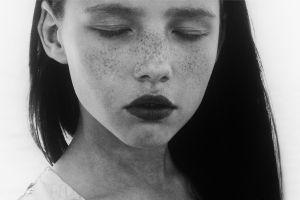 monochrome closed eyes freckles brunette photography women face closeup