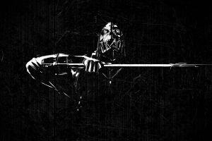 monochrome corvo attano dishonored artwork grunge