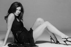 monochrome legs anna friel heels hazel eyes women dress brunette