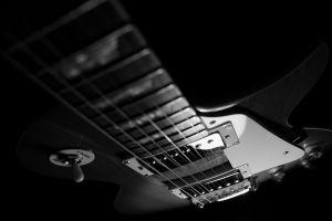 monochrome musical instrument guitar