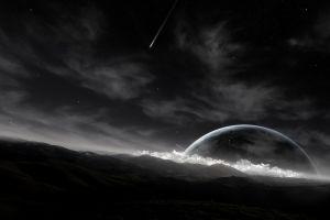 monochrome space stars planet space art