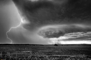 monochrome storm sky landscape