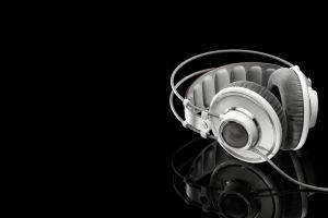 monochrome technology reflection black background white black headphones akg minimalism music