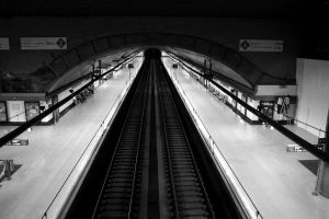 monochrome train station madrid