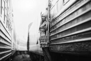 monochrome vehicle blonde train women model dress