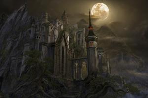 moon fantasy art castle