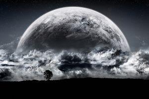 moon landscape space art monochrome digital art clouds