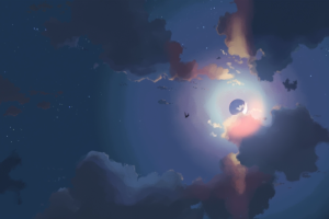 moon sky artwork night clouds